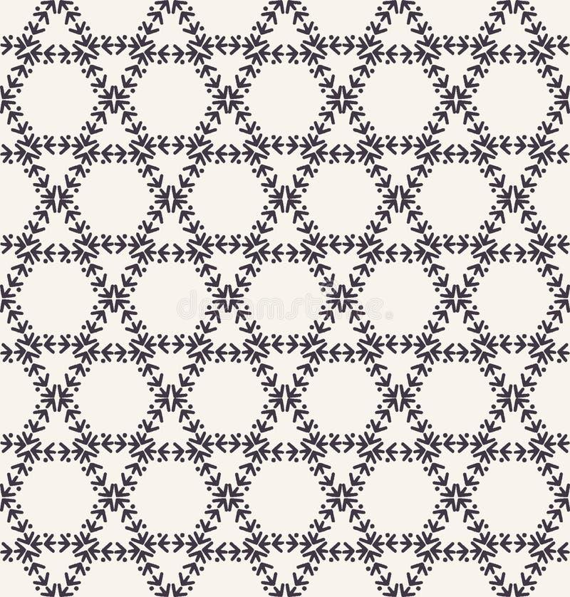 Декоративная картина вышивки стежком папоротника Needlework шпалеры решетки шестиугольника Печать ткани руки вычерченная орнамент иллюстрация вектора