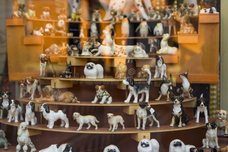 Декоративная керамическая собака в окне магазина, Тенерифе стоковая фотография rf