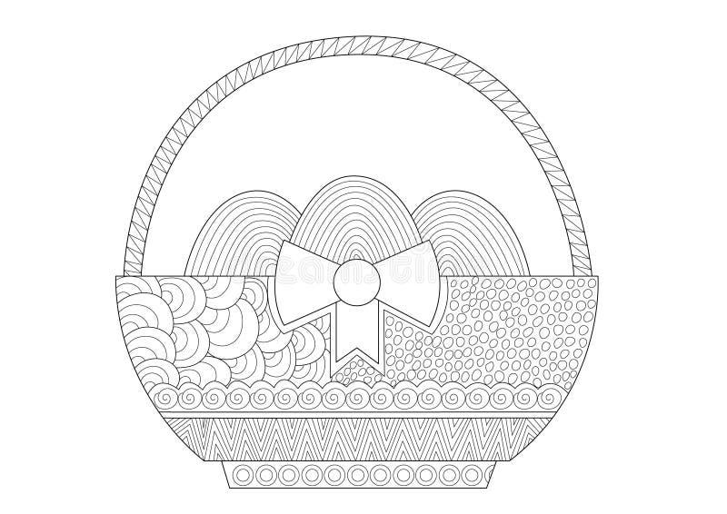 Декоративная корзина пасхи с яйцами для взрослых бесплатная иллюстрация