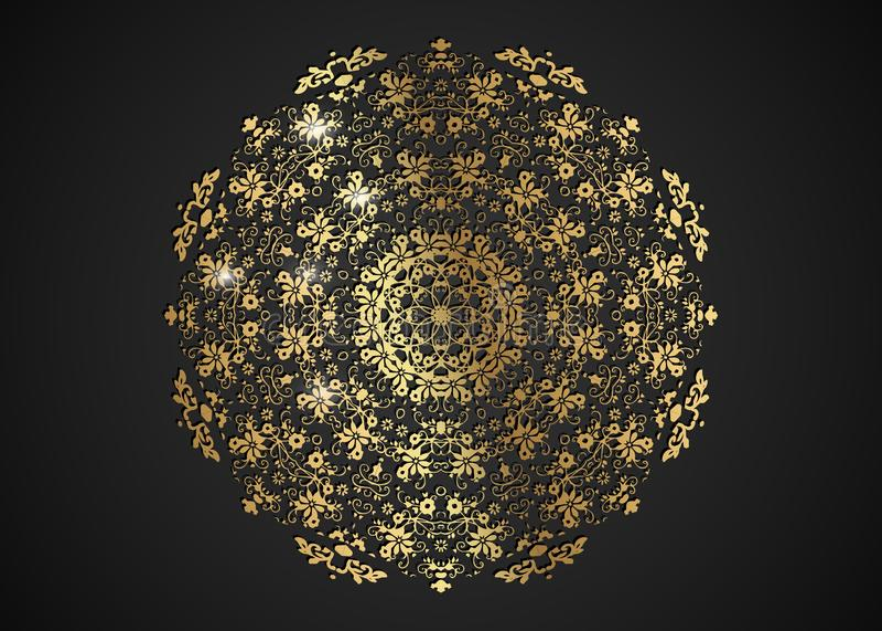 Декоративная круглая рамка золота для дизайна с лазером отрезала орнамент Роскошная золотая мандала круга Шаблон для печати откры бесплатная иллюстрация