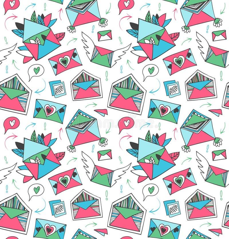 Декоративная милая картина почты столба Безшовная предпосылка с симпатичными письмами, конвертами, крылами и сердцами doodle бесплатная иллюстрация
