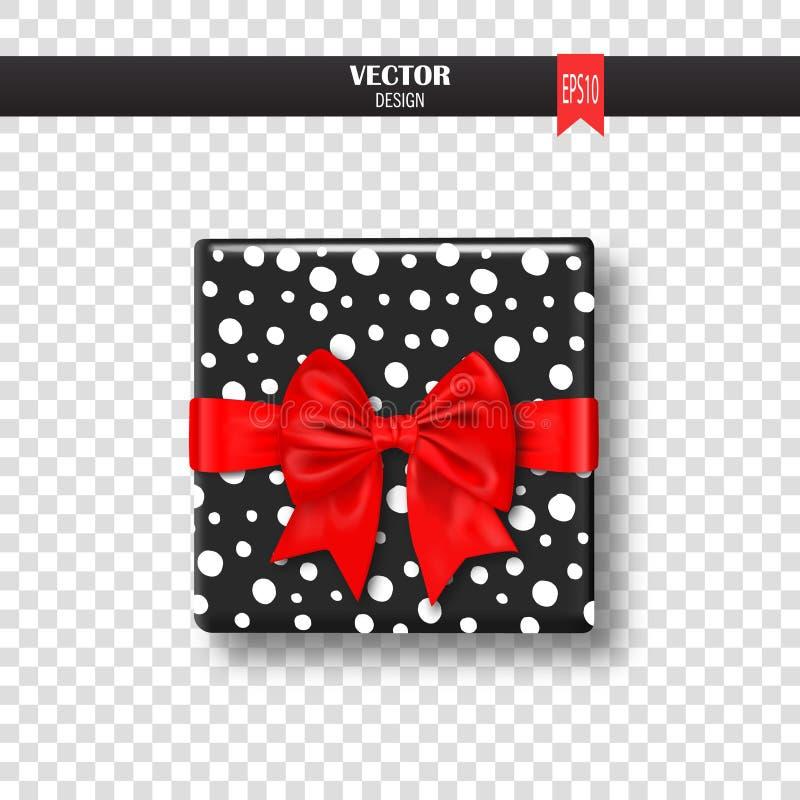 Декоративная подарочная коробка с смычком и лентой золота также вектор иллюстрации притяжки corel бесплатная иллюстрация