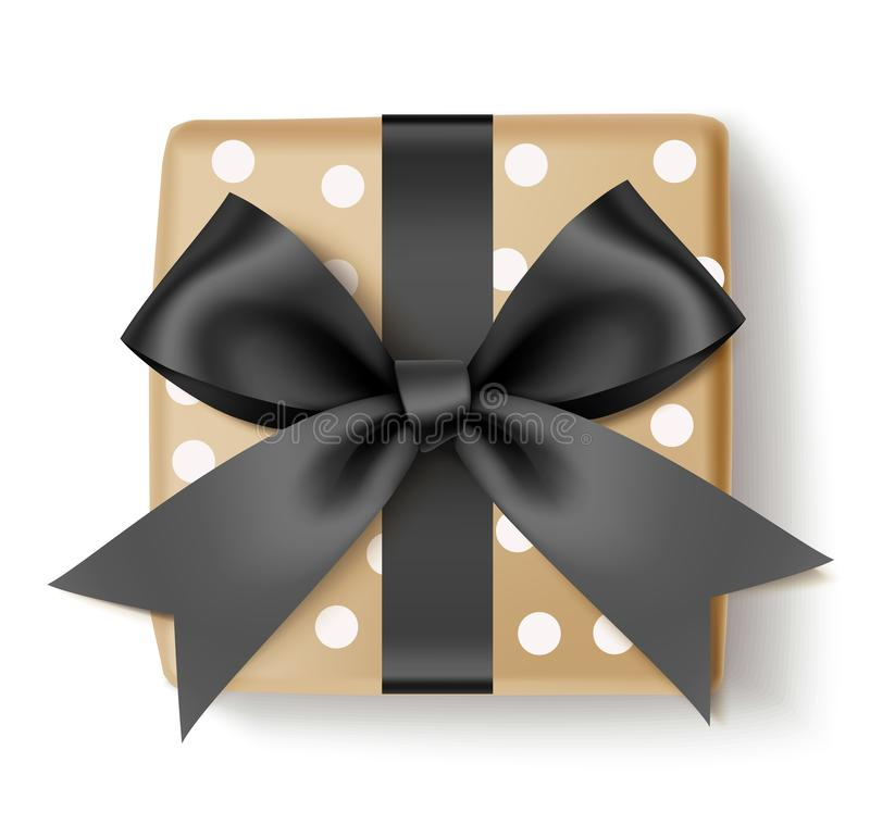 Декоративная подарочная коробка с черным смычком для черного дизайна продажи пятницы изолированным на белизне также вектор иллюст иллюстрация штока
