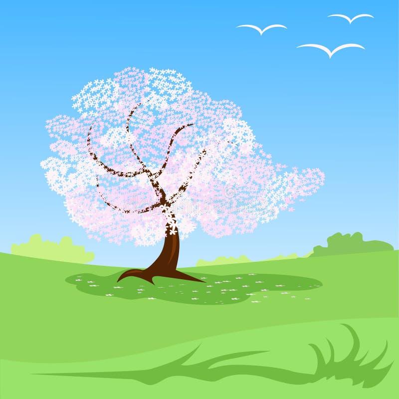 Декоративная предпосылка ландшафта весны иллюстрация штока