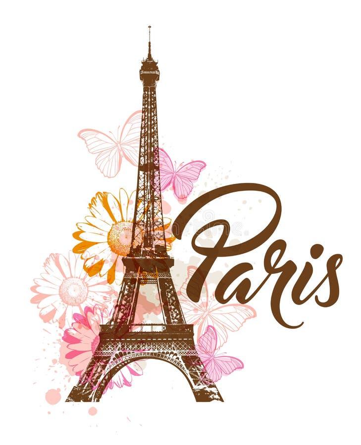 Декоративная предпосылка с Парижем иллюстрация вектора