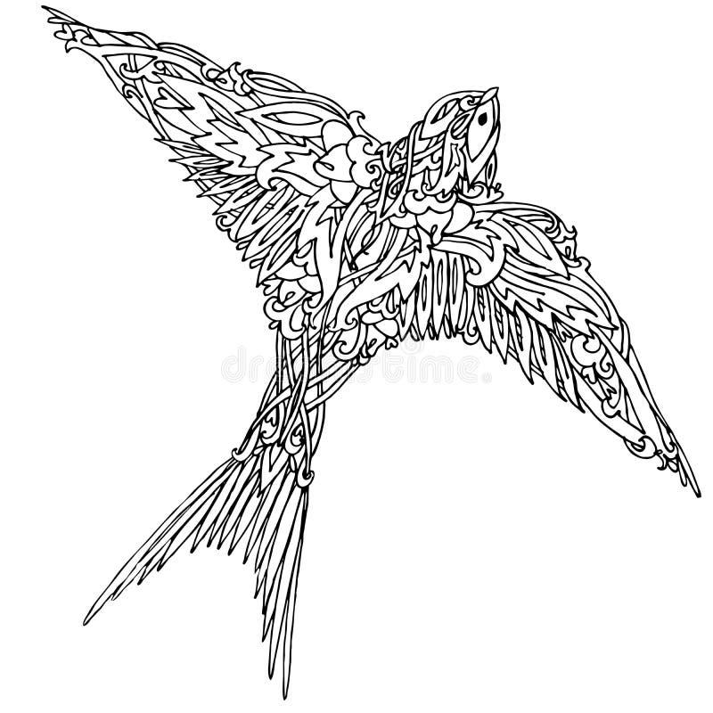 Декоративная птица ласточки Графическая ласточка иллюстрации Handmade иллюстрация искусства иллюстрация вектора