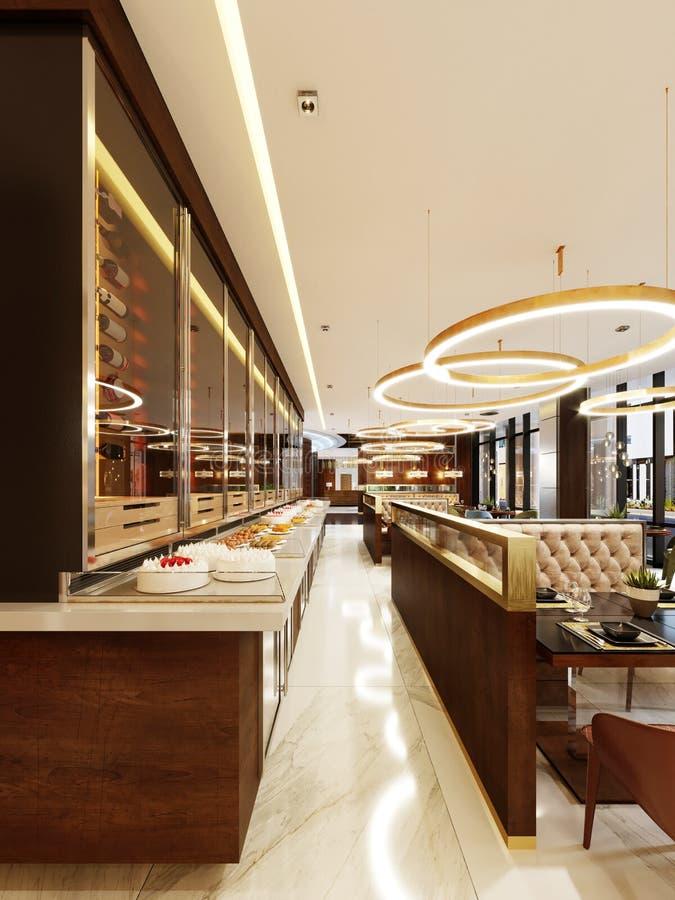 Декоративная стена в современном ресторане с бутылками под стеклом со светом Охладитель бутылки вина Дизайн ресторана иллюстрация вектора