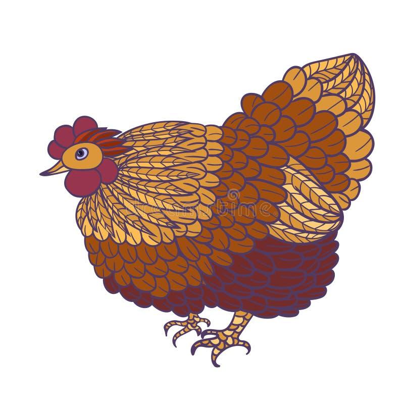 Декоративная стилизованная нарисованная вручную курица изолированная на белой предпосылке иллюстрация штока