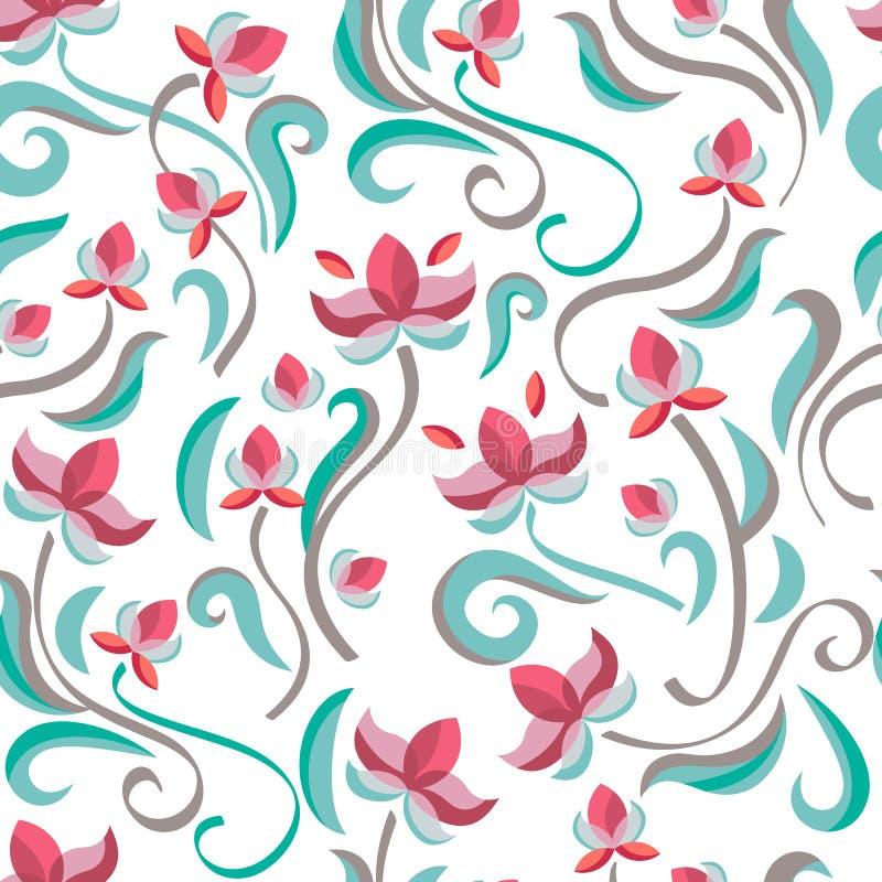 Декоративная флористическая безшовная картина Цветки пастельного цвета вектора бесплатная иллюстрация