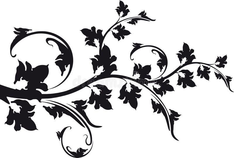 Декоративная флористическая ветвь черно-белая бесплатная иллюстрация