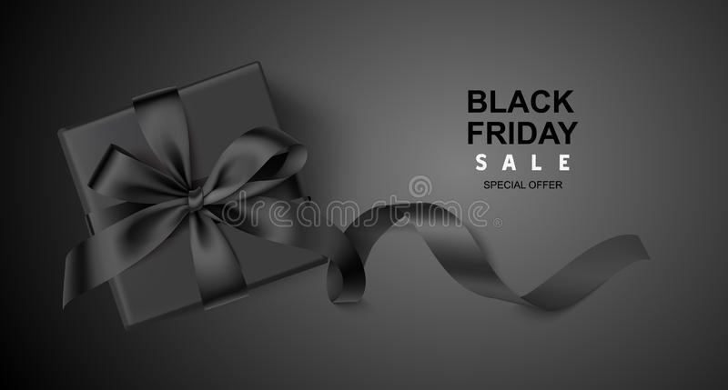 Декоративная черная подарочная коробка с длинной лентой на черной предпосылке Черный шаблон дизайна продажи пятницы также вектор  бесплатная иллюстрация
