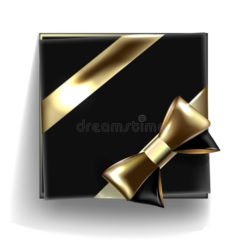 Декоративная черная подарочная коробка с золотым смычком и длинной лентой вектор иллюстрация вектора