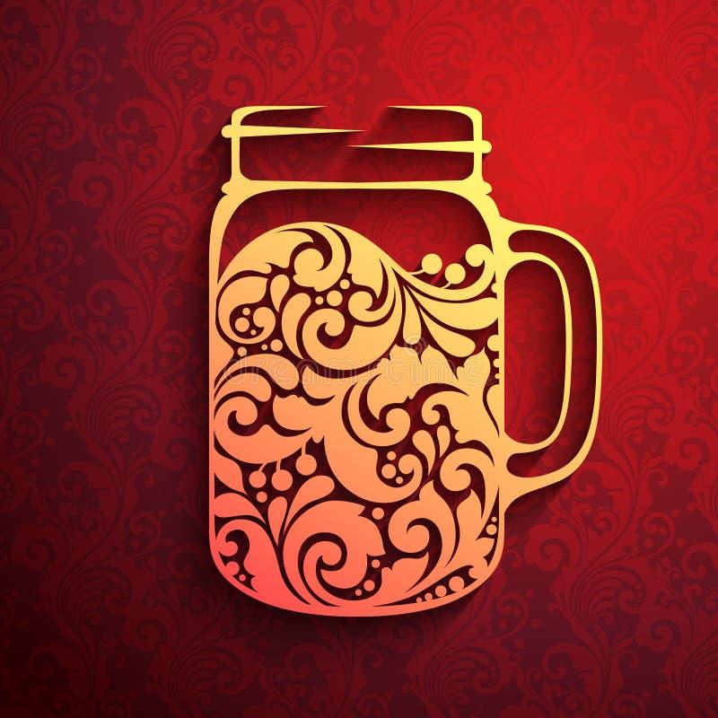 Декоративное богато украшенное обдумыванное вино иллюстрация штока