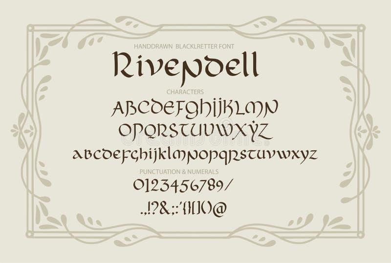 Декоративное винтажное волшебство ввело письма в моду Сценарий вектора бесплатная иллюстрация