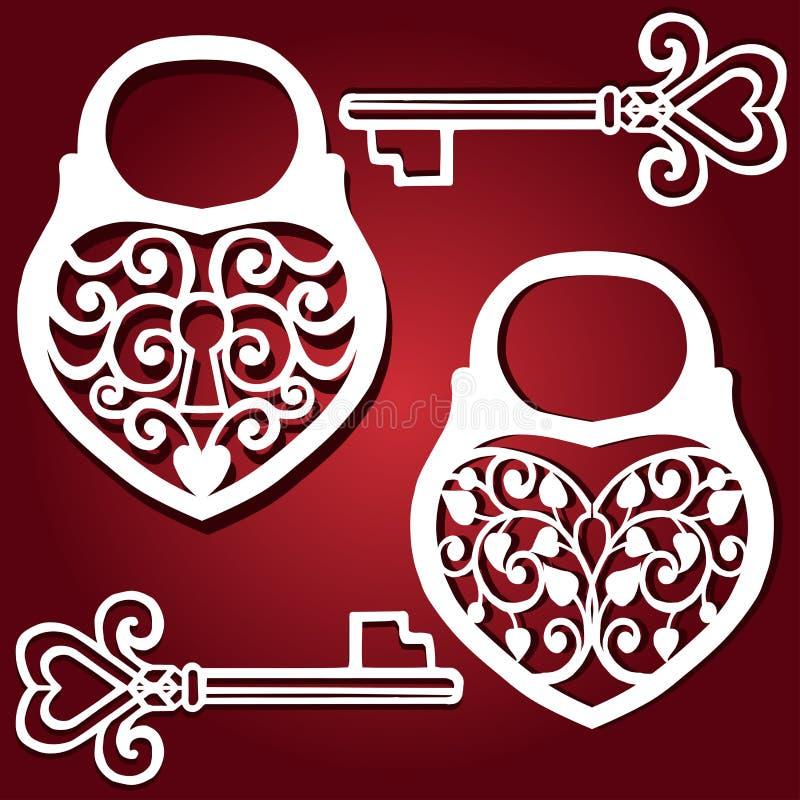 Декоративное вырезывание лазера сердца padlock Шаблон для дизайна интерьера, карточки свадьбы планов, приглашения иллюстрация вектора