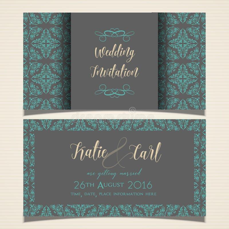 Декоративное приглашение свадьбы иллюстрация штока