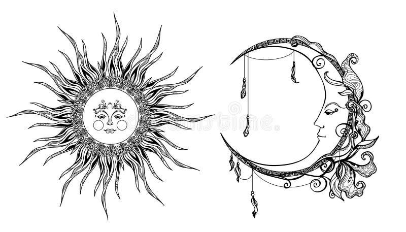 Декоративное Солнце и луна иллюстрация вектора