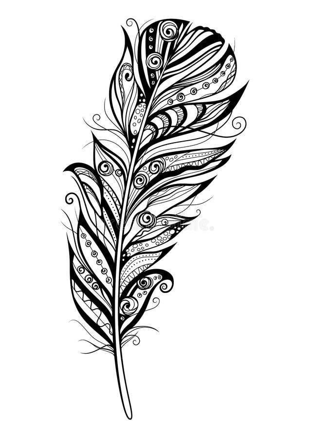 Декоративное стилизованное перо на белой предпосылке Сильно детальны иллюстрация штока