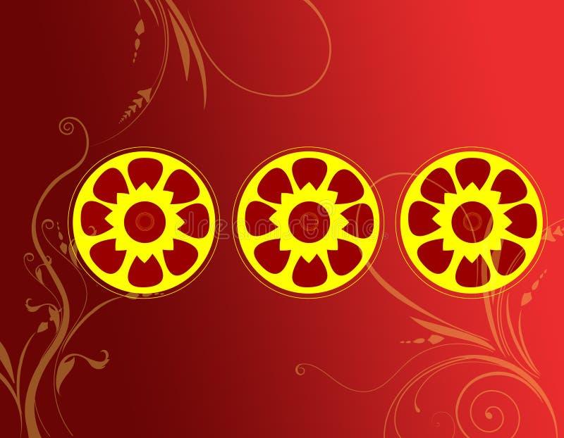 Декоративное pattrn круга с флористическим иллюстрация вектора