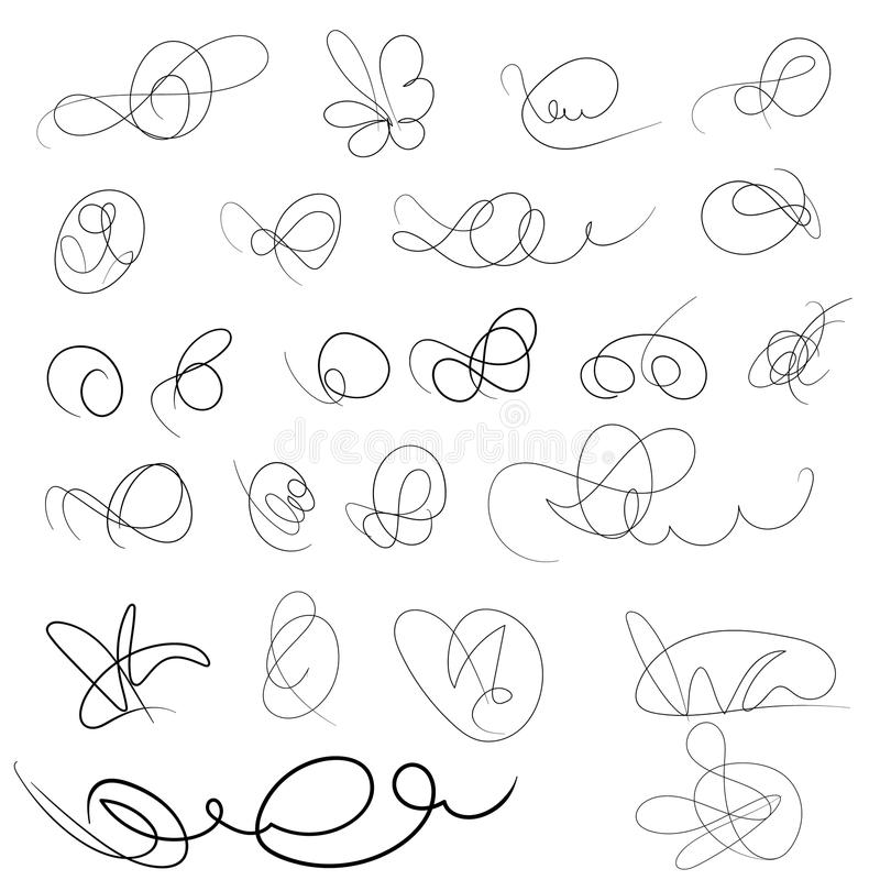 Декоративной вензеля нарисованные рукой Signage шаблона, логотипы, ярлыки, стикеры, карточки Классические элементы дизайна для we иллюстрация вектора