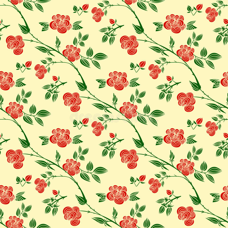 Декоративные безшовные картины с красными розами, листьями и ветвями иллюстрация штока