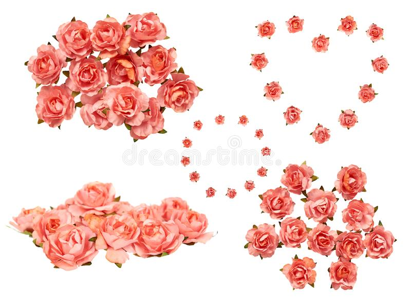 Декоративные бумажные цветки, розовые розы, набор и собрание стоковая фотография rf