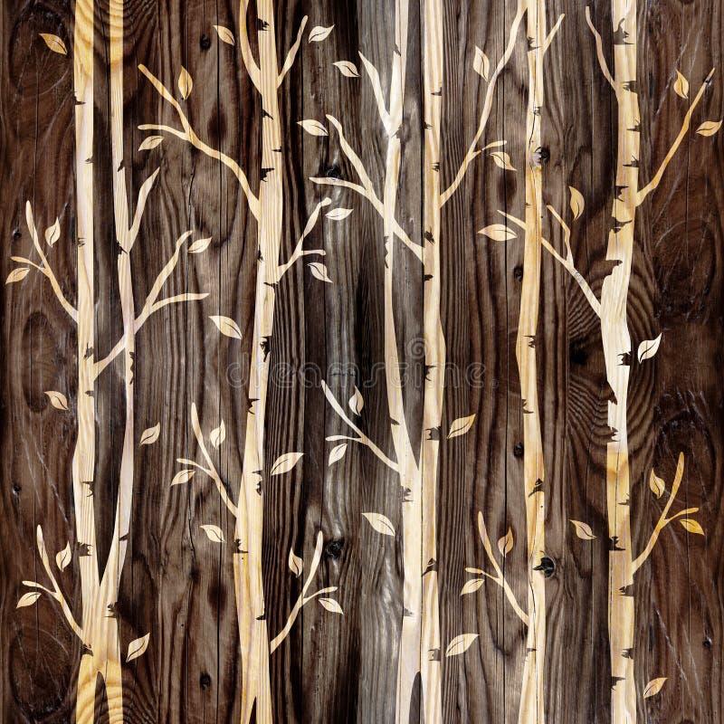 Декоративные деревья на безшовной предпосылке - деревянной текстуре стоковые изображения