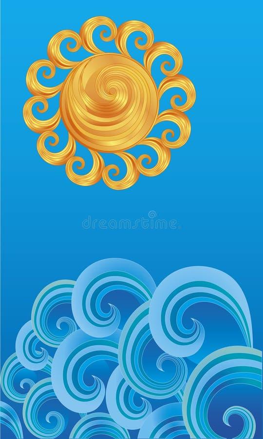 декоративные излишек волны солнца иллюстрация штока