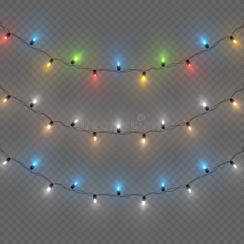 Декоративные красочные гирлянды электрической лампочки установили, decoratio рождества иллюстрация вектора