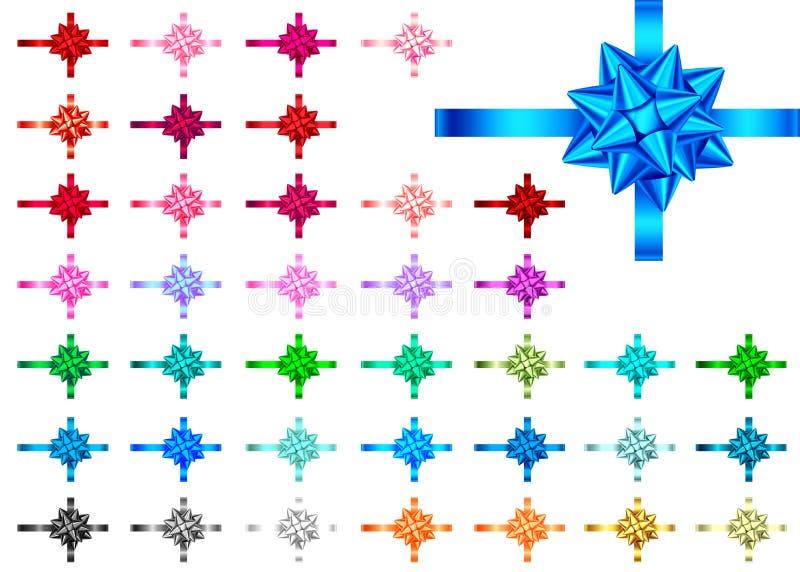 Декоративные ленты и смычки подарка изолированные на белой предпосылке иллюстрация вектора