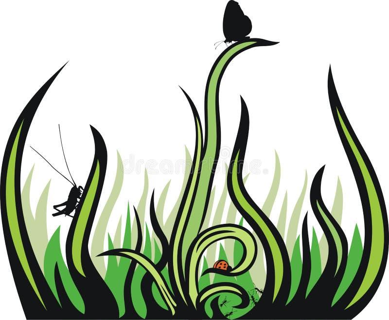декоративные насекомые травы иллюстрация вектора