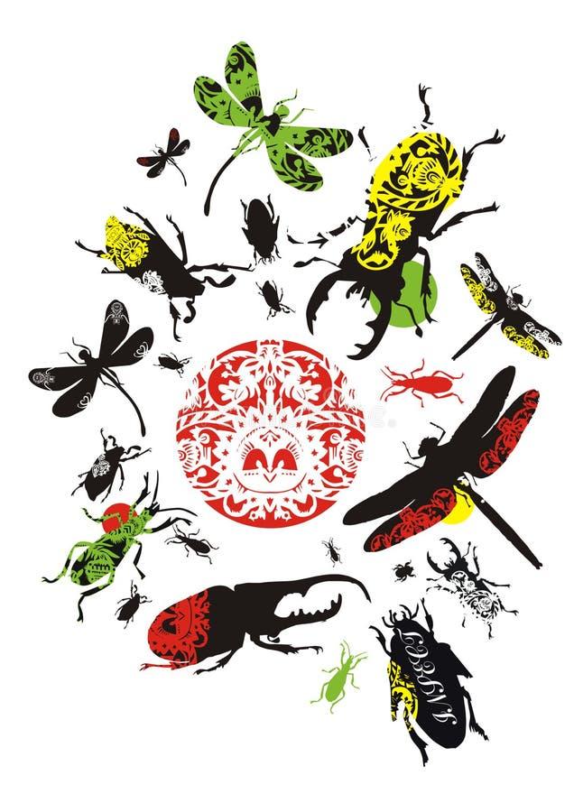 декоративные насекомые иллюстрация вектора
