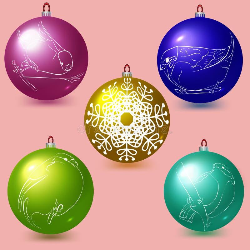 Декоративные покрашенные шарики Новый Год украшения рождества Vec иллюстрация штока