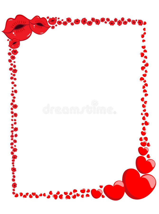 Декоративные рамка или граница влюбленности валентинки иллюстрация штока