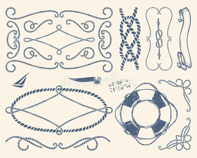 Декоративные рамки веревочки установленные над белой предпосылкой иллюстрация штока