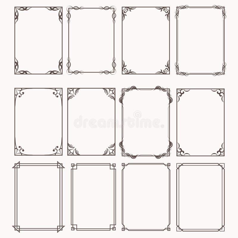 Декоративные рамки и установленные пропорции прямоугольника границ бесплатная иллюстрация