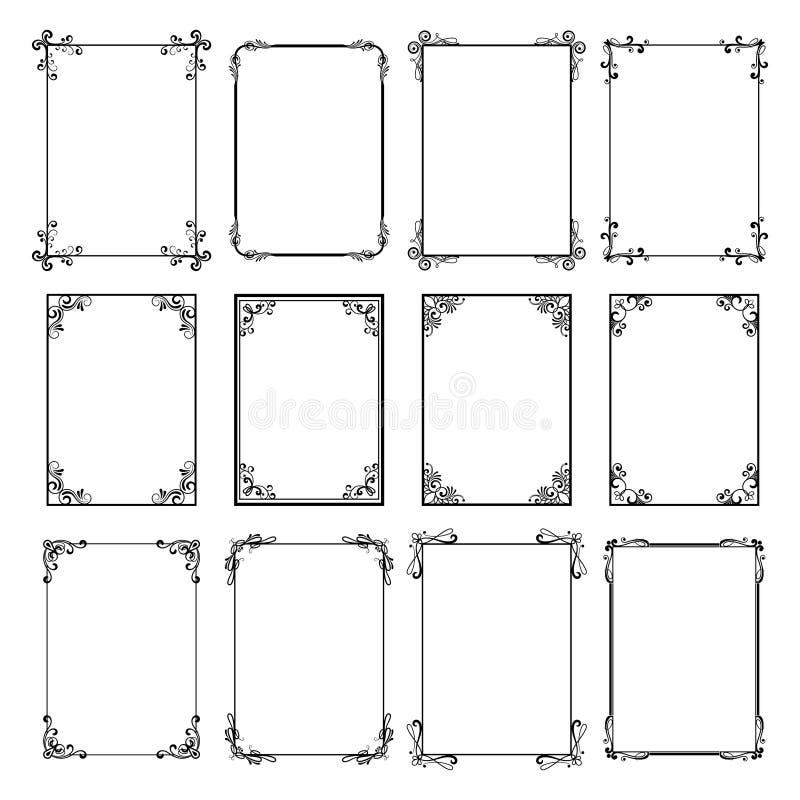 Декоративные рамки сбора винограда Границы вектора черные изолированные на белой предпосылке Шаблоны рамки для дизайна карточек иллюстрация вектора