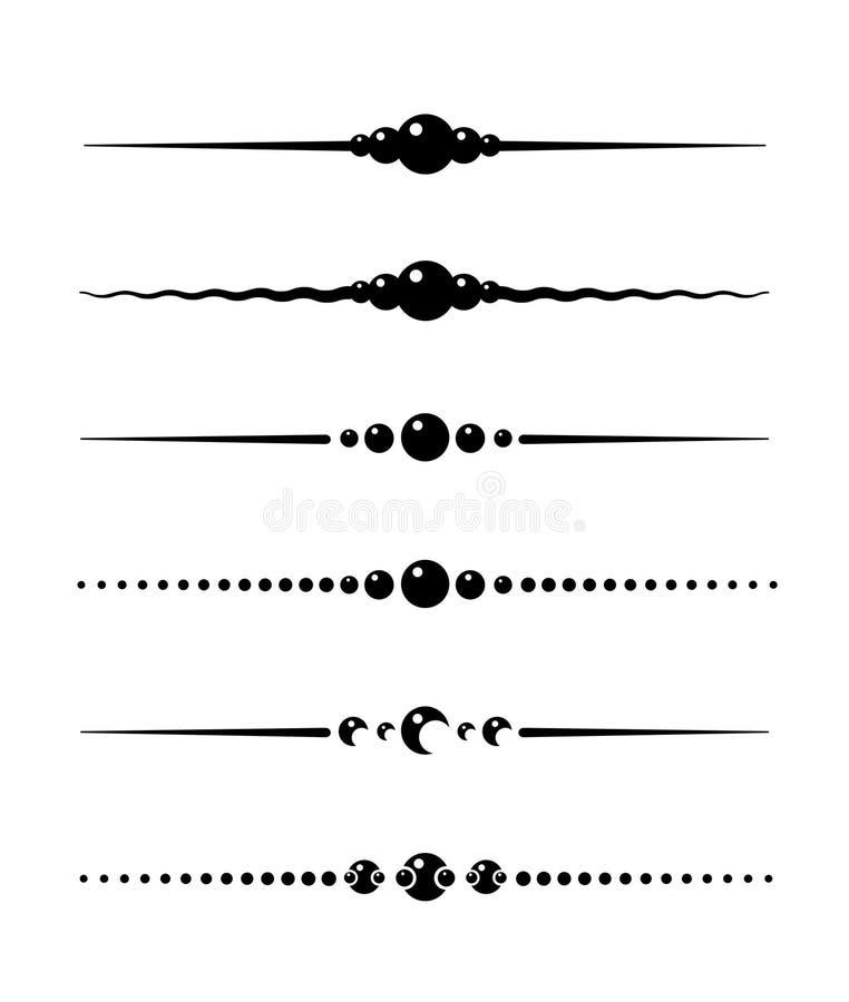 декоративные рассекатели разделяют на абзацы текст стоковое изображение
