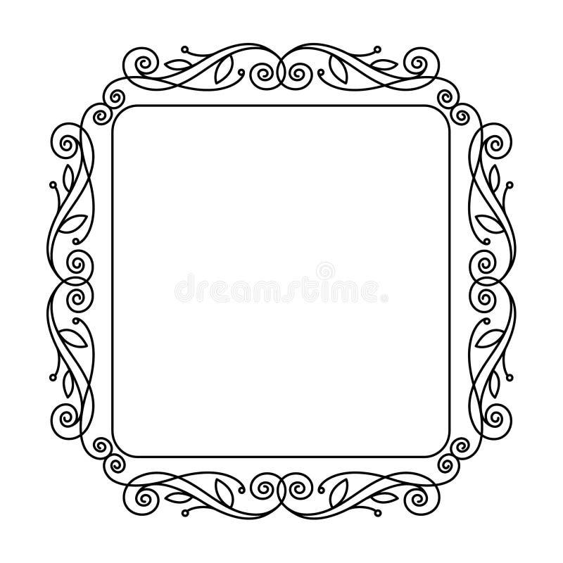 Декоративные ретро флористические рамки также вектор иллюстрации притяжки corel черный иллюстрация вектора