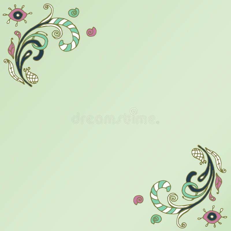 Декоративные углы элемента Абстрактная карточка приглашения Дизайн весны волны шаблона для карточки иллюстрация штока