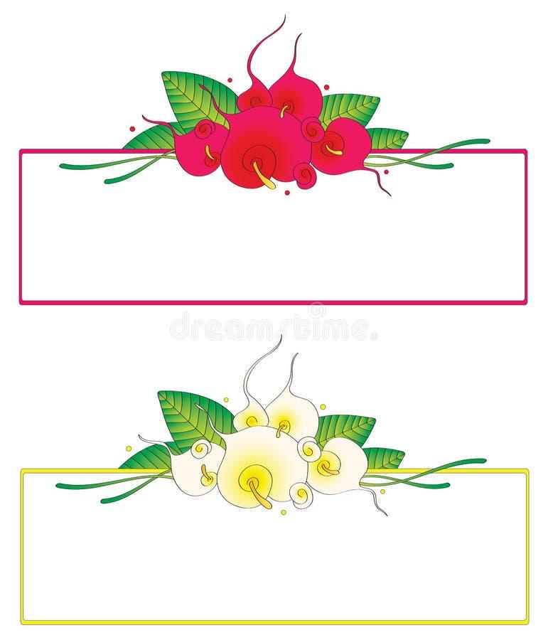 Декоративные флористические ярлыки иллюстрация штока