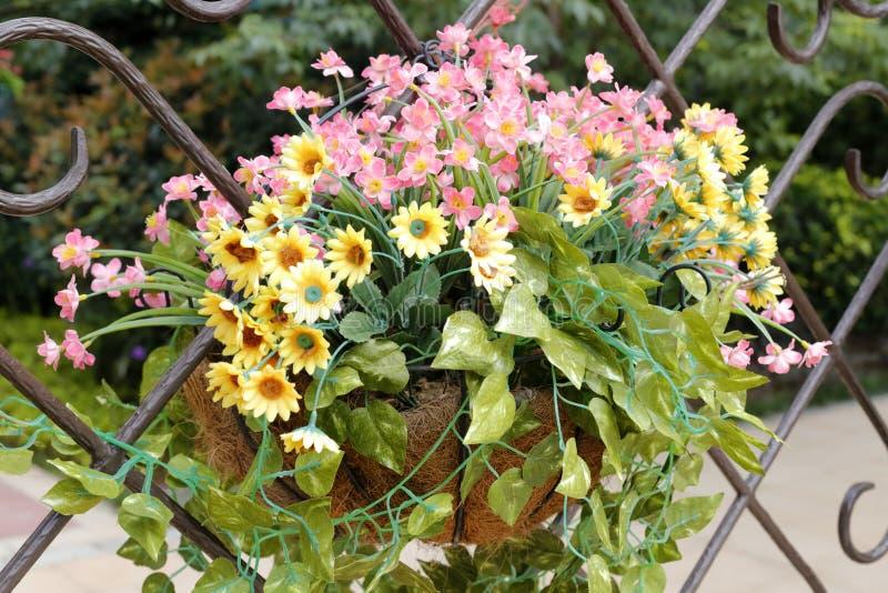 Декоративные цветки на железной загородке, самане rgb стоковая фотография