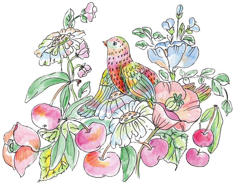 Декоративные цветки, птицы и яблоки бесплатная иллюстрация