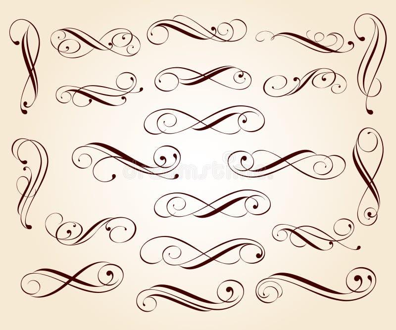 Декоративные элементы: границы, виньетки, углы, рассекатели иллюстрация штока