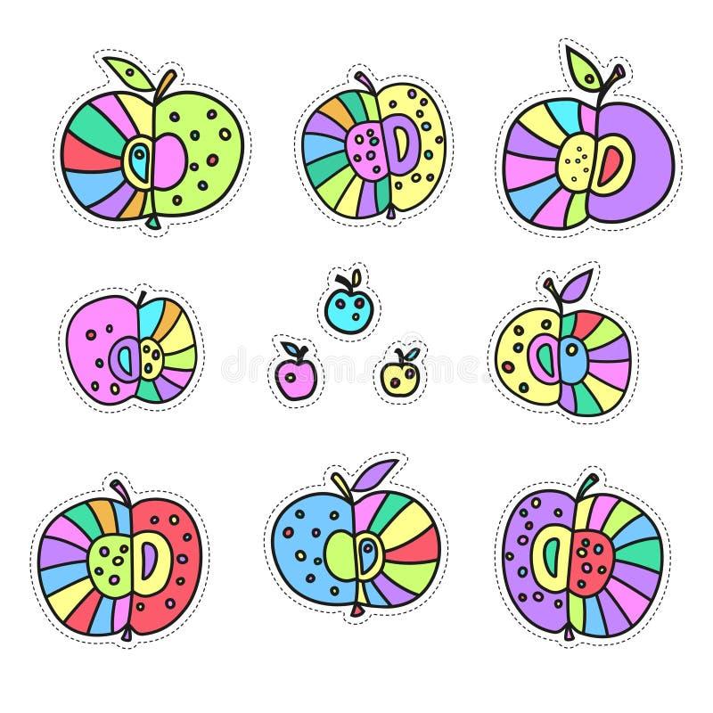 Декоративные яблоки Набор стикеров Яркая иллюстрация вектора цвета изолированная на белой предпосылке иллюстрация штока