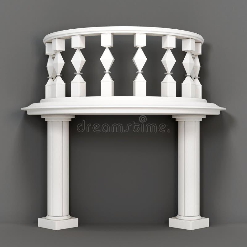 Декоративный балкон на серой предпосылке перевод 3d иллюстрация вектора
