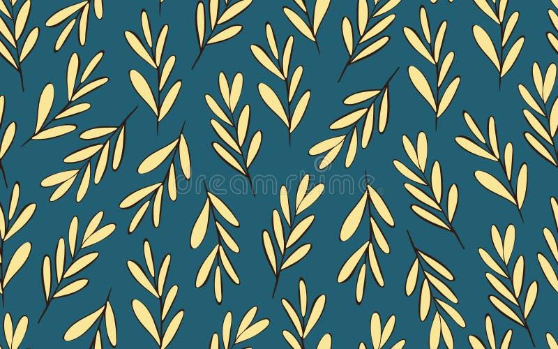 Декоративный беж выходит безшовная картина вектора на голубую предпосылку бесплатная иллюстрация