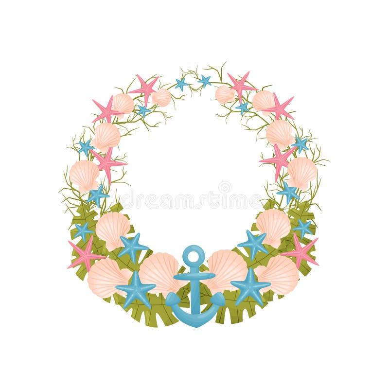 Декоративный венок голубого моря тематическое, пинка и зеленых цветов r иллюстрация штока