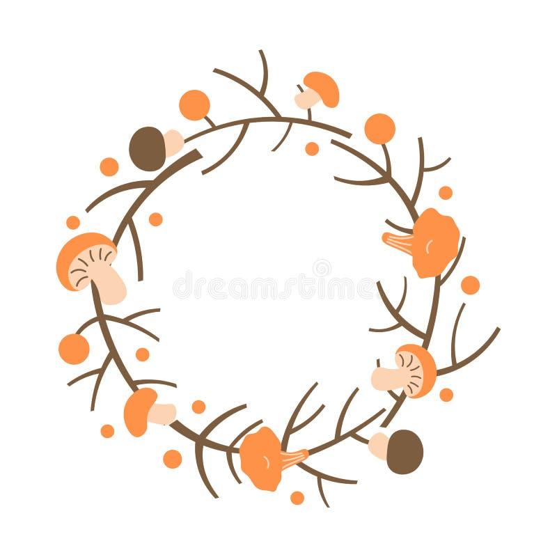 Декоративный венок осени Рамка сделанная ветвей, ягод и грибов иллюстрация вектора