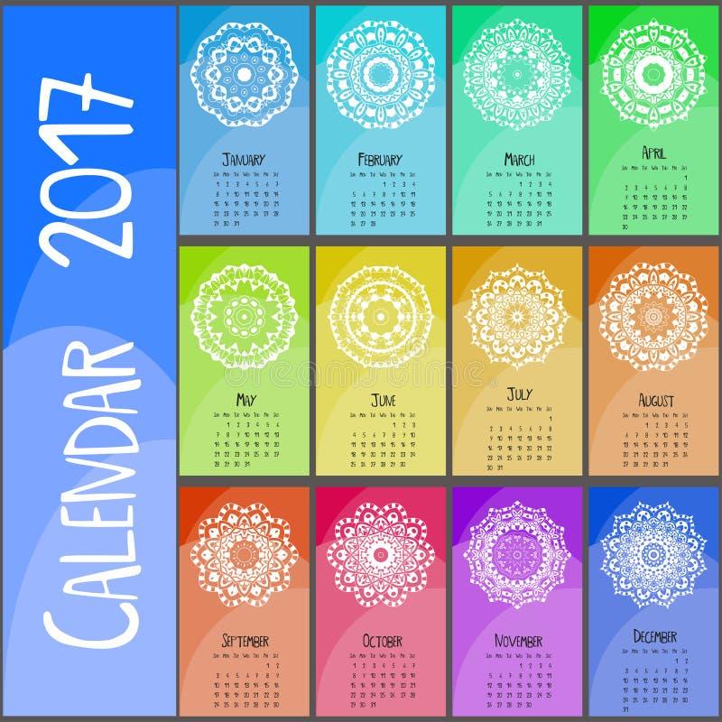 Декоративный винтажный календарь 2017 Востоковедная картина Дизайн мандалы вектора можно использовать для плаката, знамени, карто иллюстрация вектора